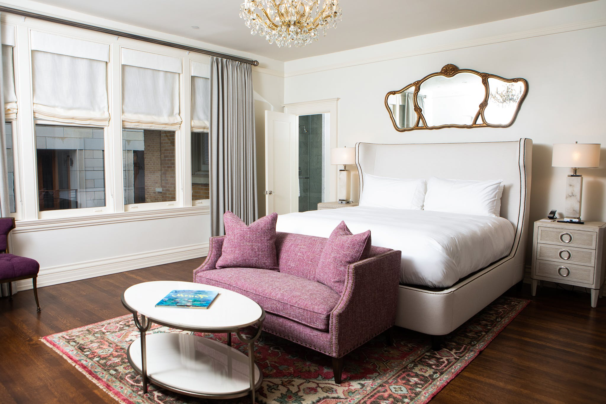 The rooms have been updated with tranquil furnishings accented with playful jewel tones.