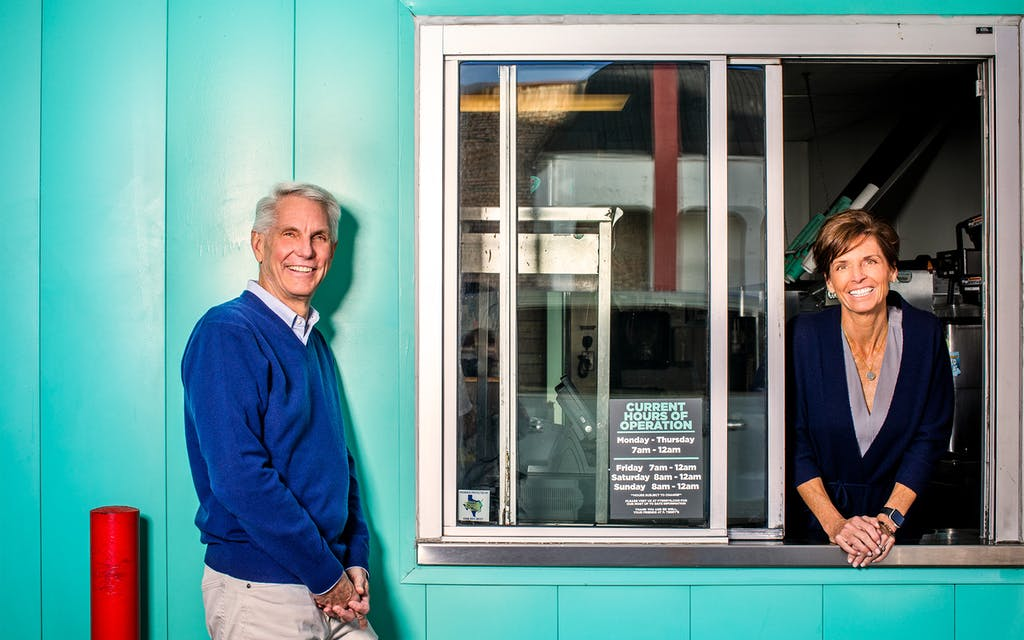 Patrick and Kathy Terry at the Capital Plaza P. Terry's drive-thru window in Austin on February 9, 2021.