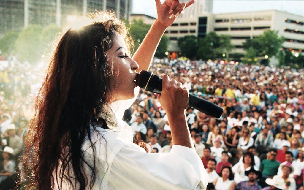 Selena, in a white button-down, in San Antonio, on April 24, 1994.