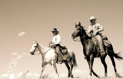 A never-before-seen photograph of Woodrow Call (Tommy Lee Jones) and Augustus McCrae (Robert Duvall) tracking horse thieves in what is supposed to be Montana (actually it's New Mexico).