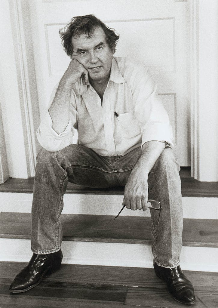 Larry McMurtry photographed in screenwriter Bill Wittliff's Austin office in 1987.