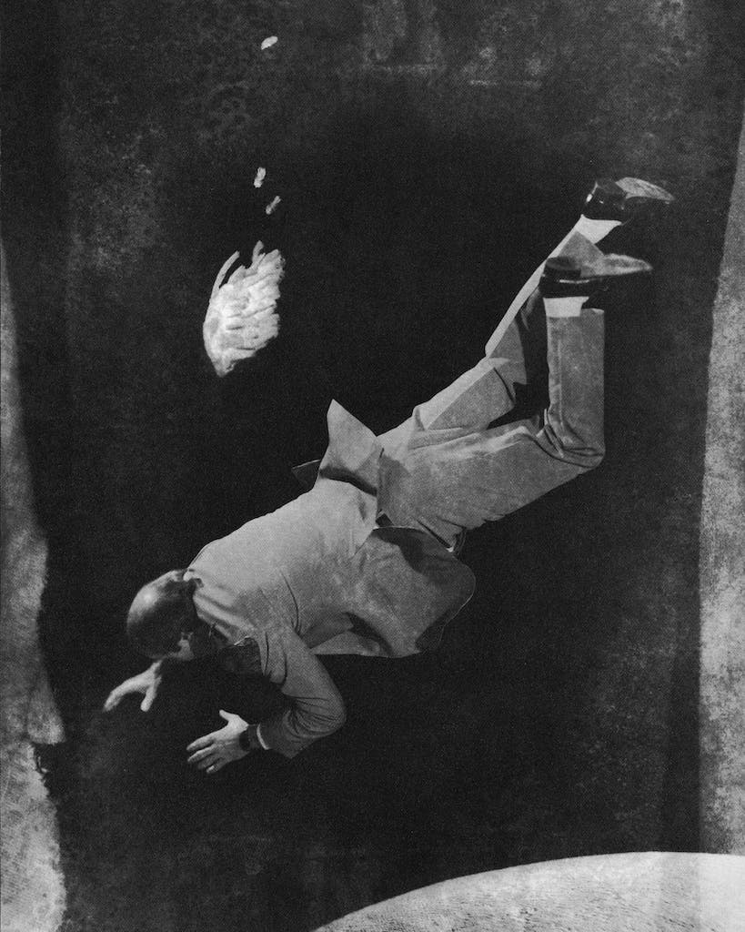 A conceptual photo illustration of a model stand-in for Reverend Walker Railey, falling into a pit with a dead bird.