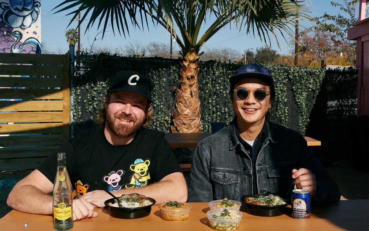 Andrew Samia and Andrew Ho at Curry Boys BBQ in San Antonio.