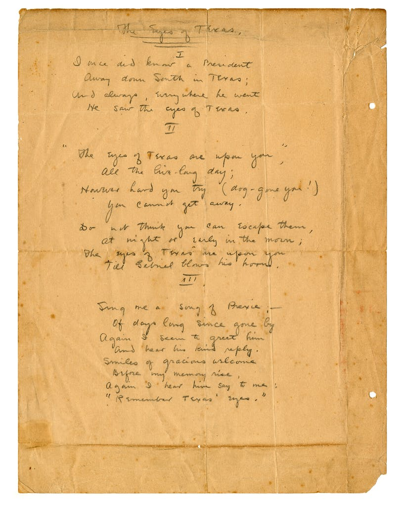 Handwritten lyrics to the University of Texas at Austin fight song, which was composed by John Lang Sinclair and completed in 1903.