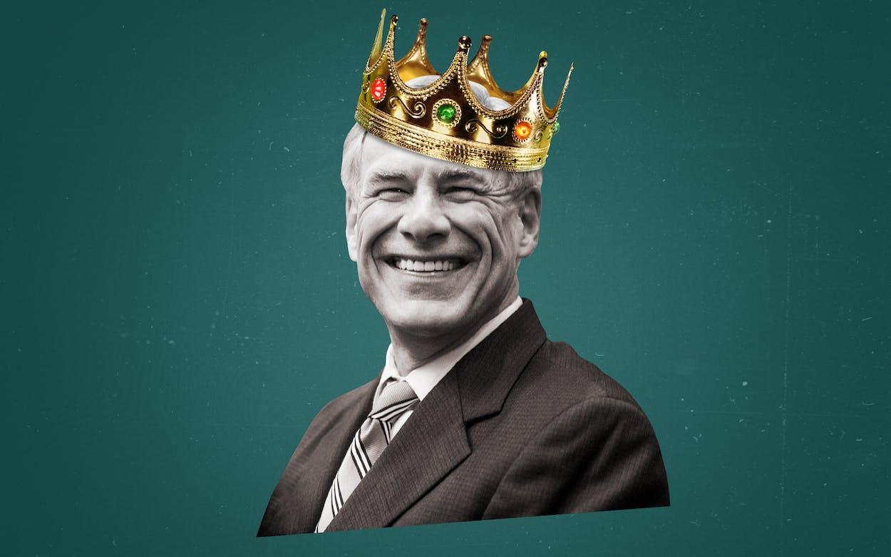 Governor Greg Abbott wearing a crown