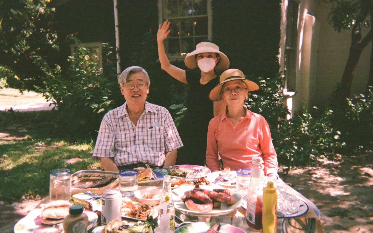 Mary H.K. Choi author of Yolk with family in San Antonio