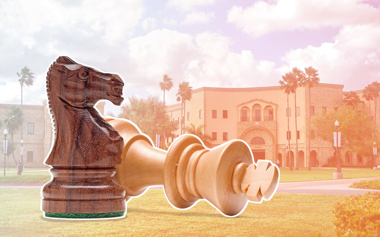 Illustration of chess pieces on the UT RGV campus