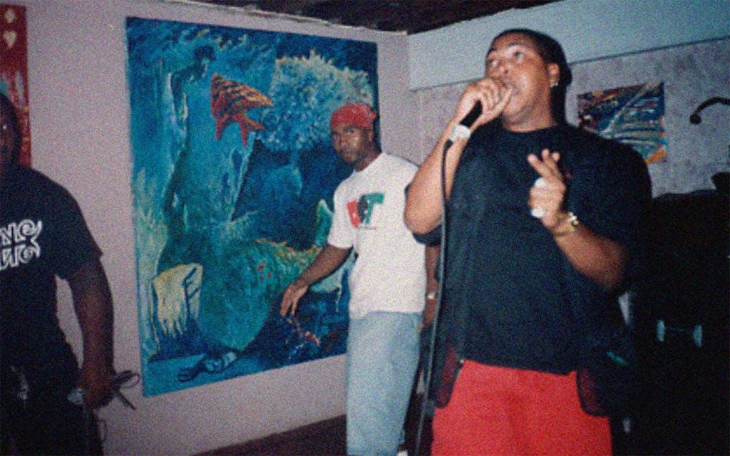 Papa Chuk performing in 1993 at Hip Hop Coffee Shop at Hoi Polloi in Houston.