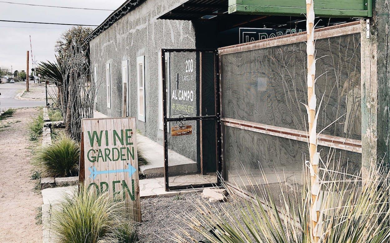 The exterior of Al Campo Wine Garden in Marfa.