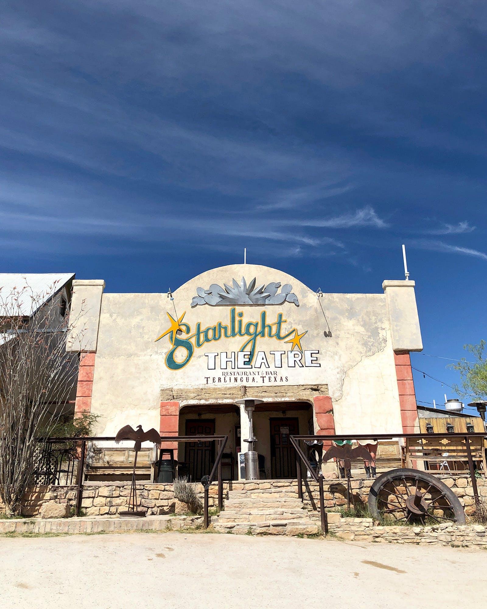 The exterior of Starlight Theatre in Terlingua.