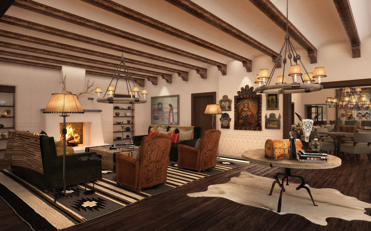 A rendering of the Bishop's Lodge Lobby, in Santa Fe.