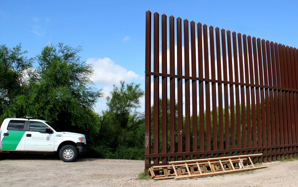 The wall, a ladder, and the border patrol in 2018.