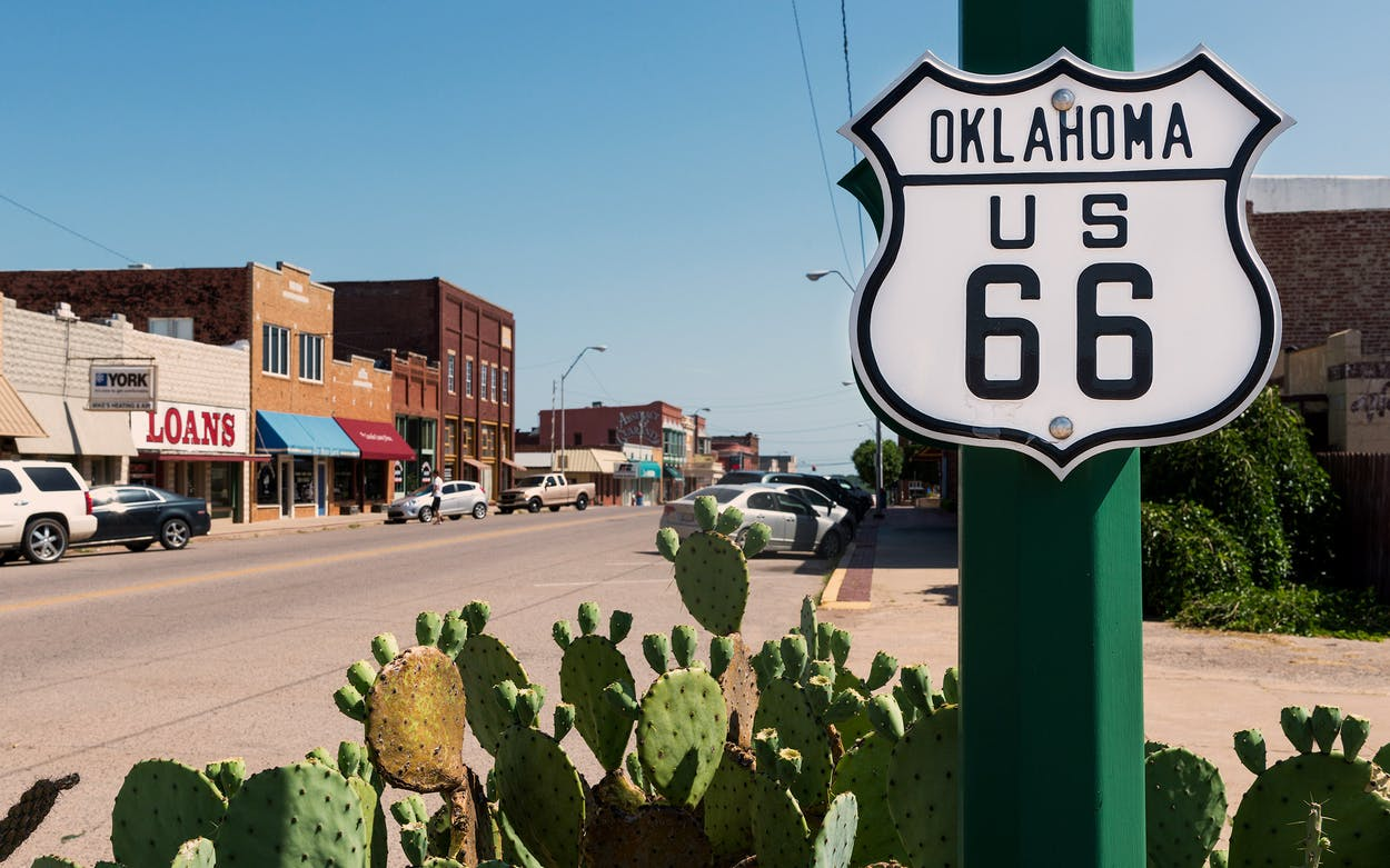 Route 66 Sign along the historic Route 66 in Chandler, Oklahoma.