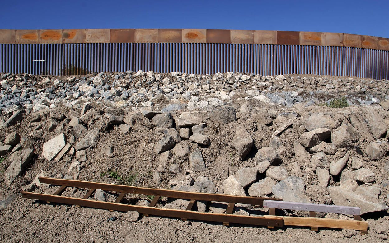 A ladder in front of newly built border wall at Granjeno, on January 2, 2021.