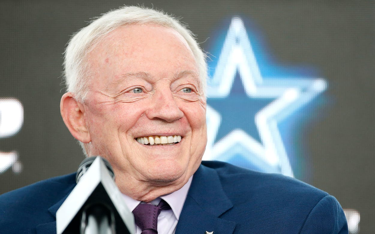 Jerry Jones at a news conference in Frisco on March 10, 2021.