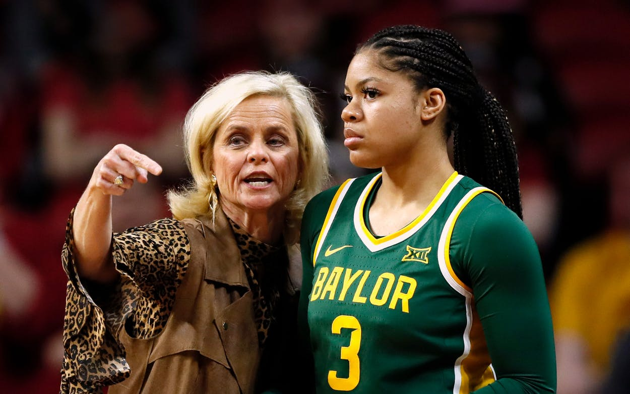 Baylor head coach Kim Mulkey talks with guard Trinity Oliver (3) during an NCAA college basketball game against Iowa State, Sunday, March 8, 2020, in Ames, Iowa.