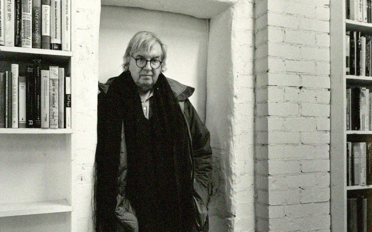 Larry McMurtry at his bookstore, Booked Up, in Archer.