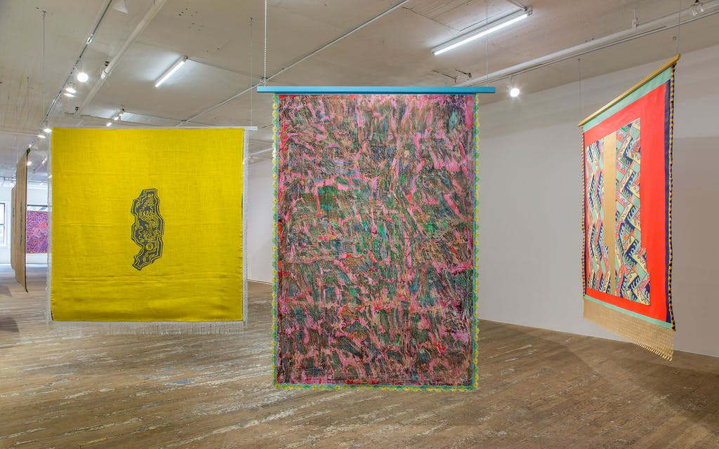 Installation view of Thalweg, at Bridget Donahue Gallery in NYC.