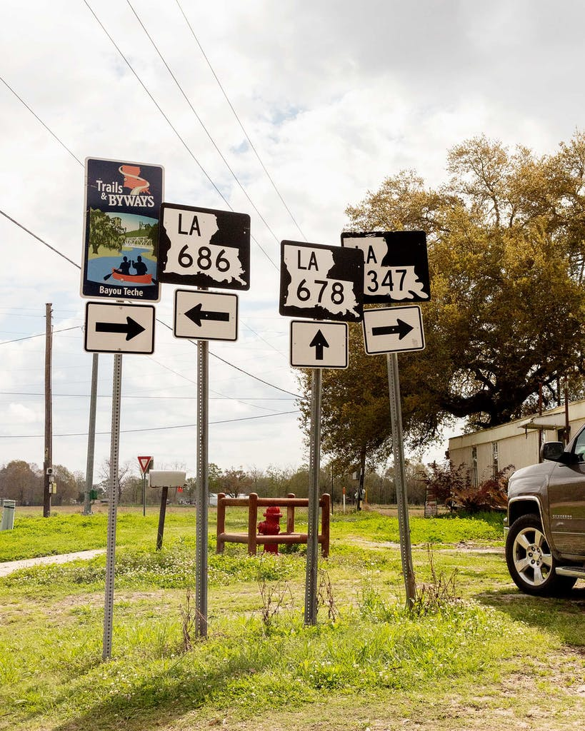 Road signs between Breaux Bridge and Atchafalaya, Louisiana.