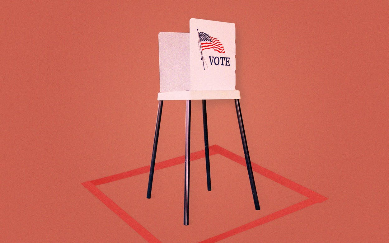 Photo illustration of voting booth