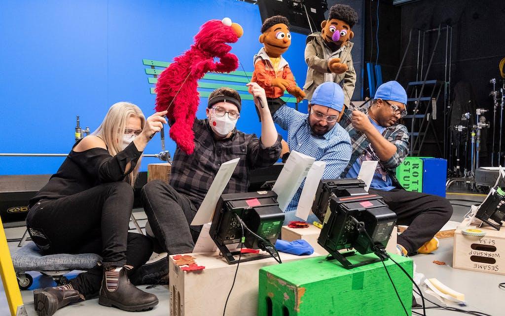 Bradley Freeman Jr. and Sesame Street puppeteers