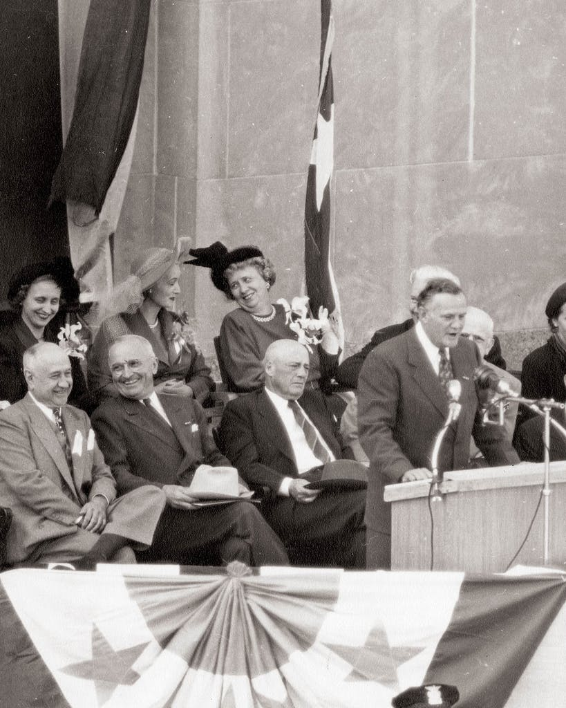 Texas governor Beauford Jester speaks at a campaign event for President Harry Truman in Fort Worth, circa 1948.