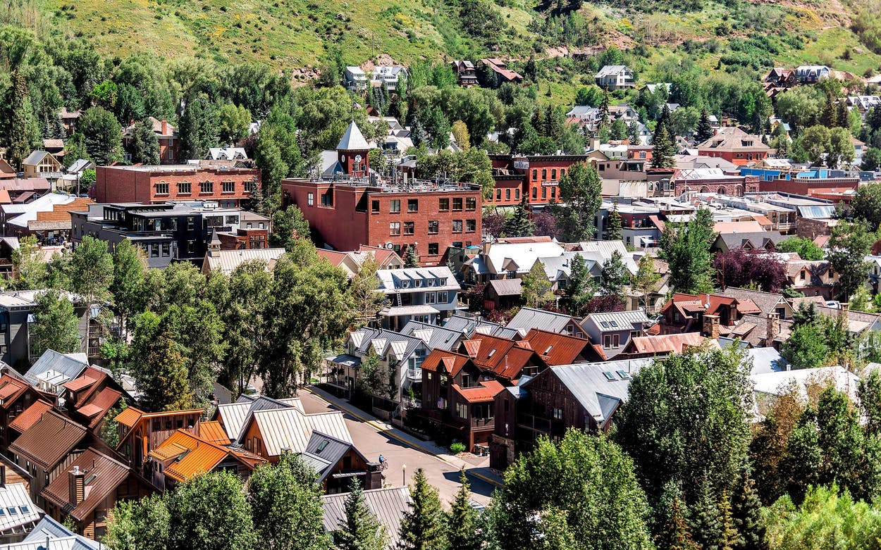 A view of Telluride, Colorado, from free gondola to mountain village in summer.