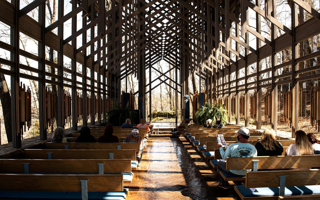 The interior of Thorncrown Chapel in Eureka Springs.