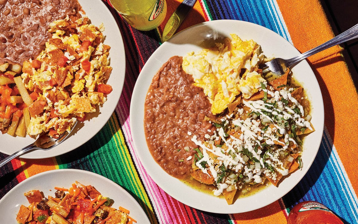 The migas bowl, migas platter, and chilaquiles plate at Tía Dora's Bakery, in Dallas, on March13, 2021.