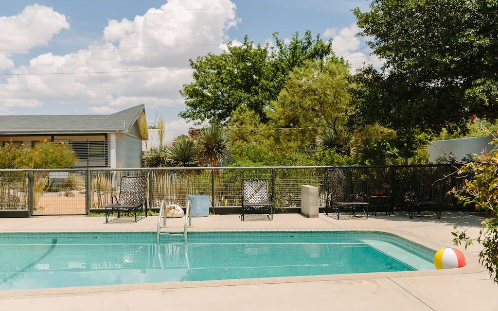 The pool at the Thunderbird Hotel in Marfa.