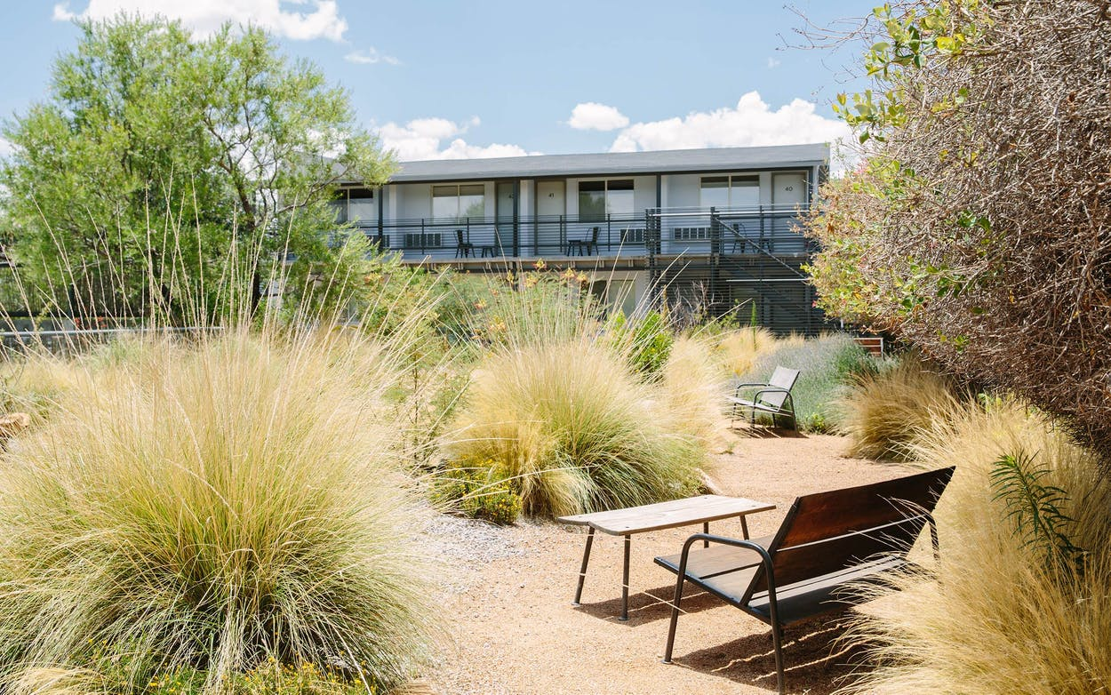 Outdoor space at the Thunderbird Hotel in Marfa.