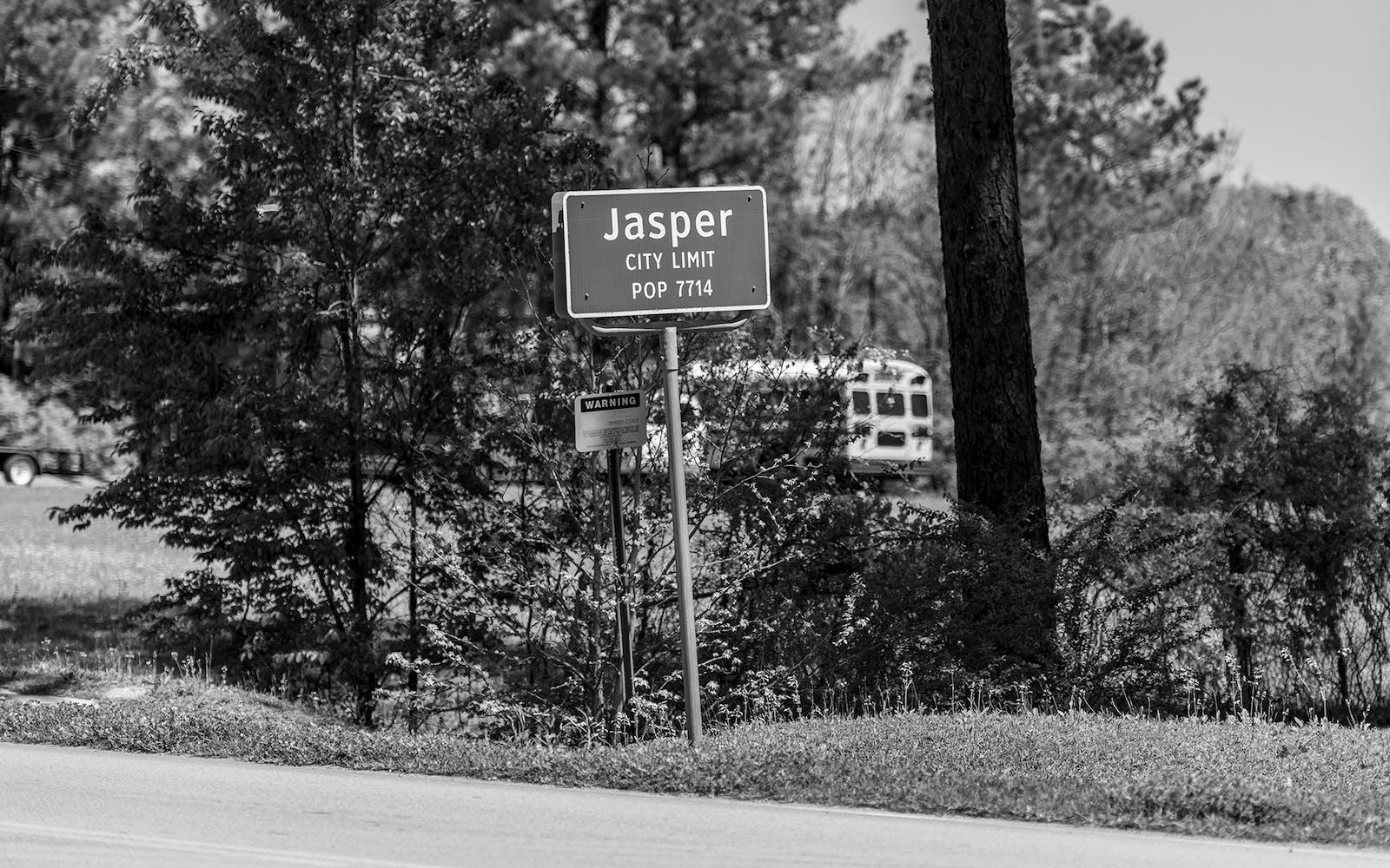 Town sign in Jasper, Texas