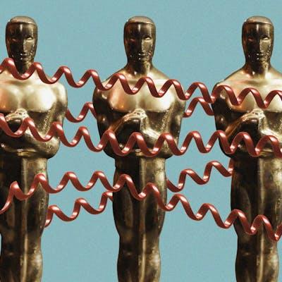 Oscar awards tangled in red phone cords