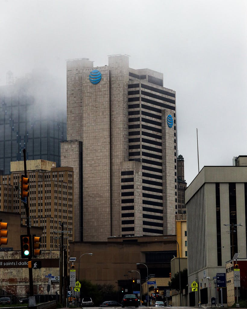 An exterior view of AT&T corporate headquarters on March 13, 2020 in Dallas.