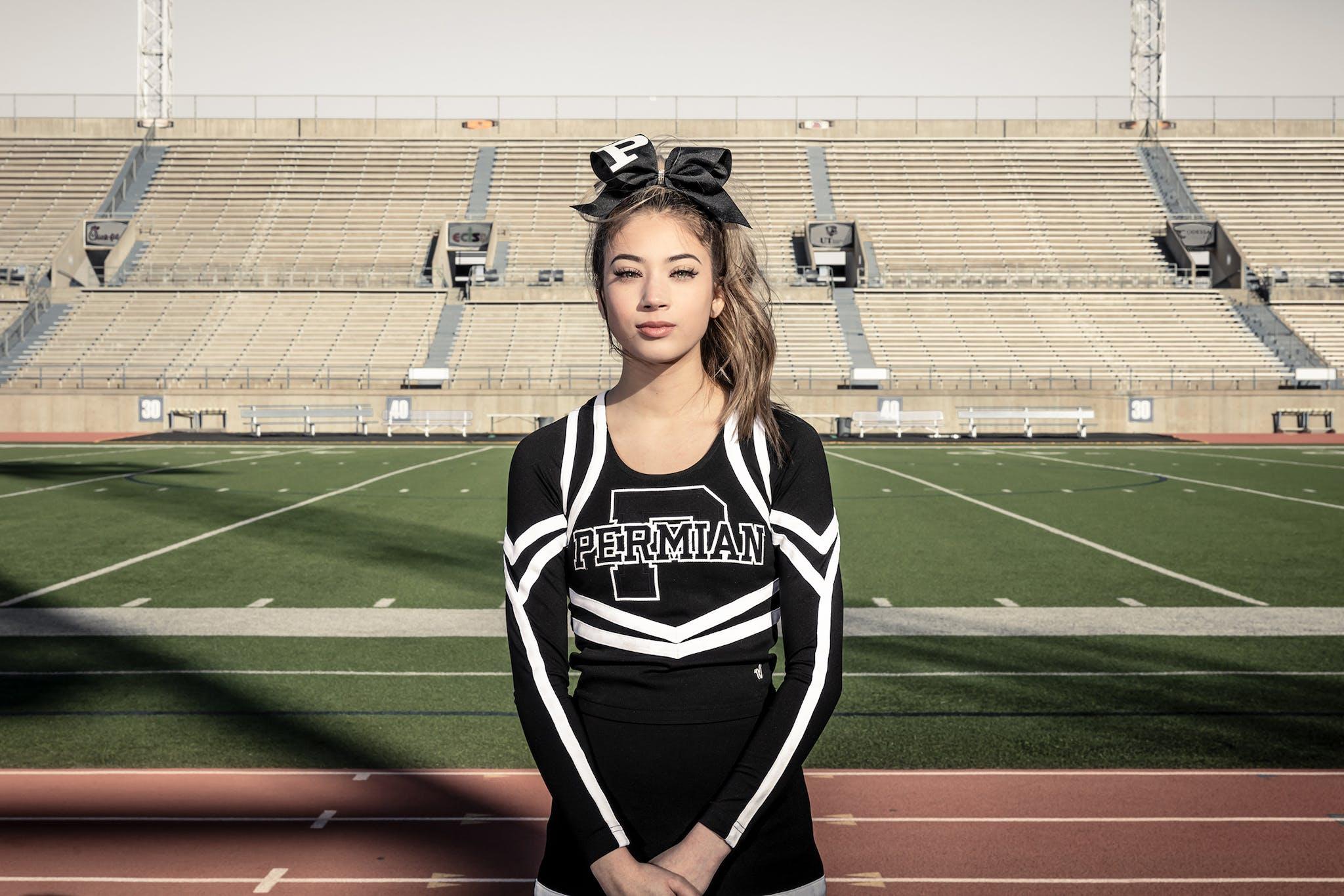 Permian High School cheerleader Isabella Garza, in Odessa.