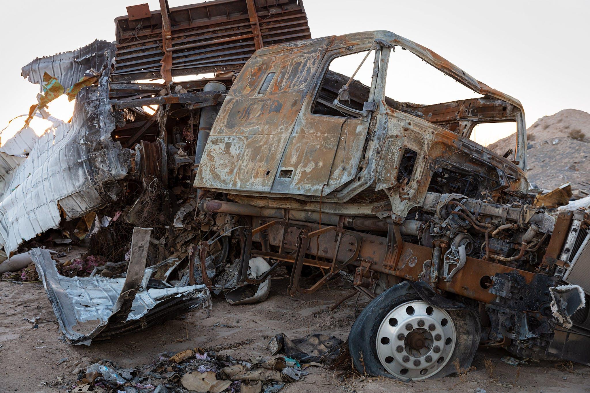 Salvage yard at B&B Wrecker Service in Pecos.