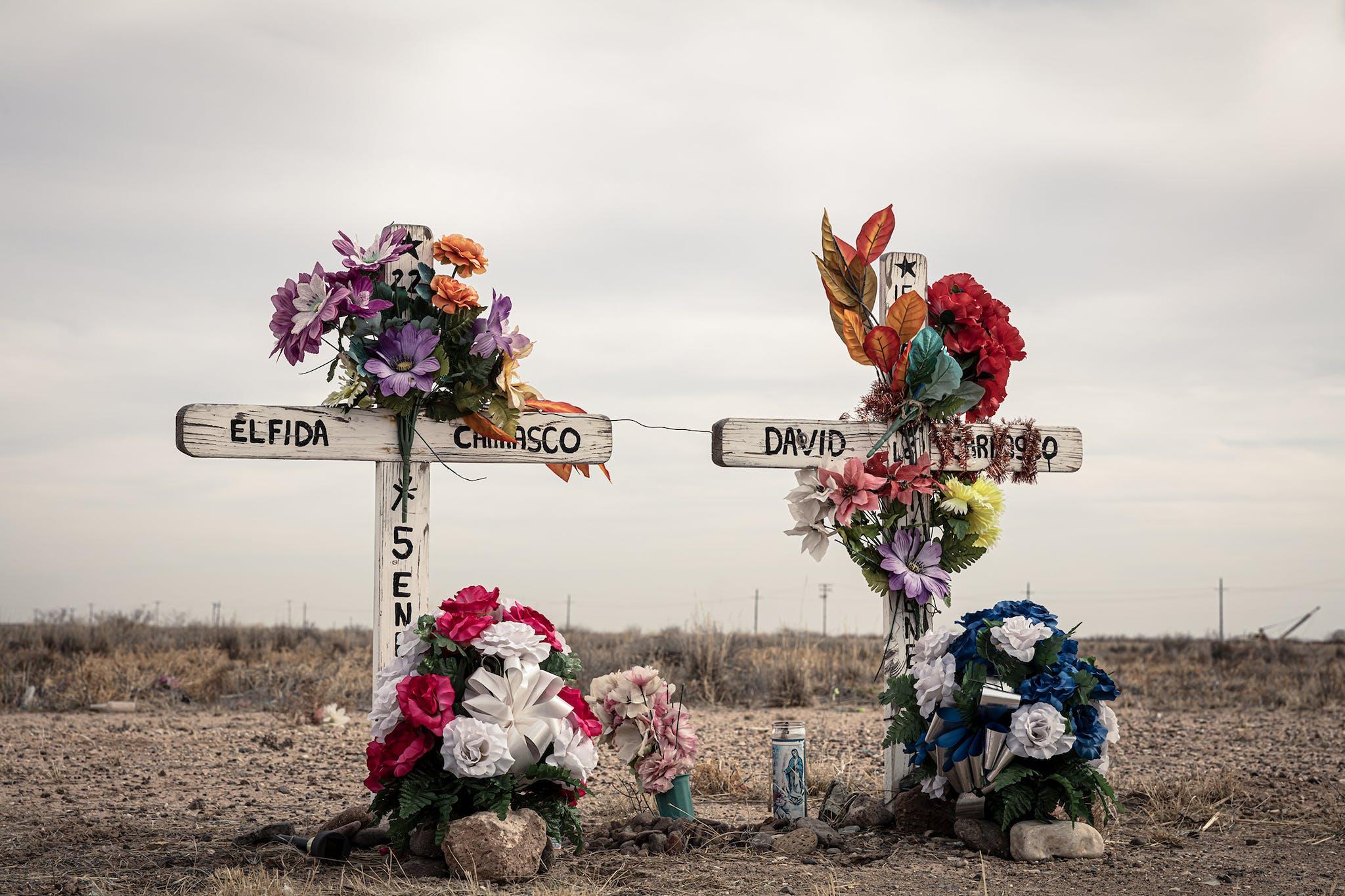 Roadside memorial, in Reeves County.