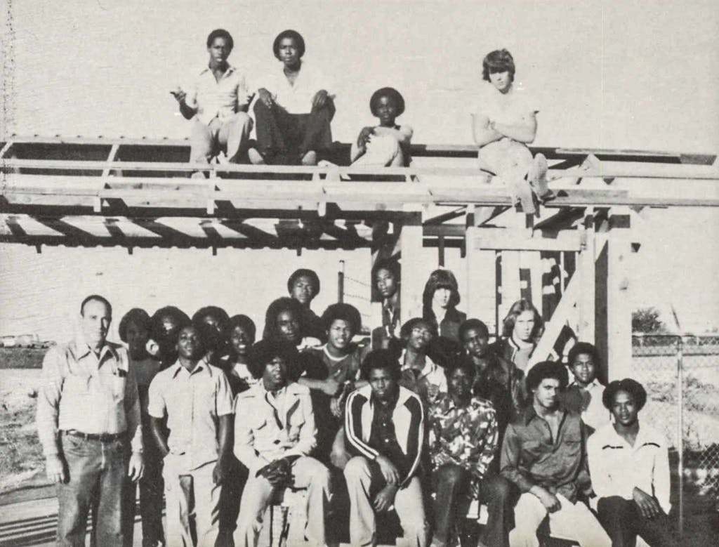 The VICA Building Trades club at Mexia High School in 1979, which included Carl Baker, Anthony Freeman, and Jay Wallace.