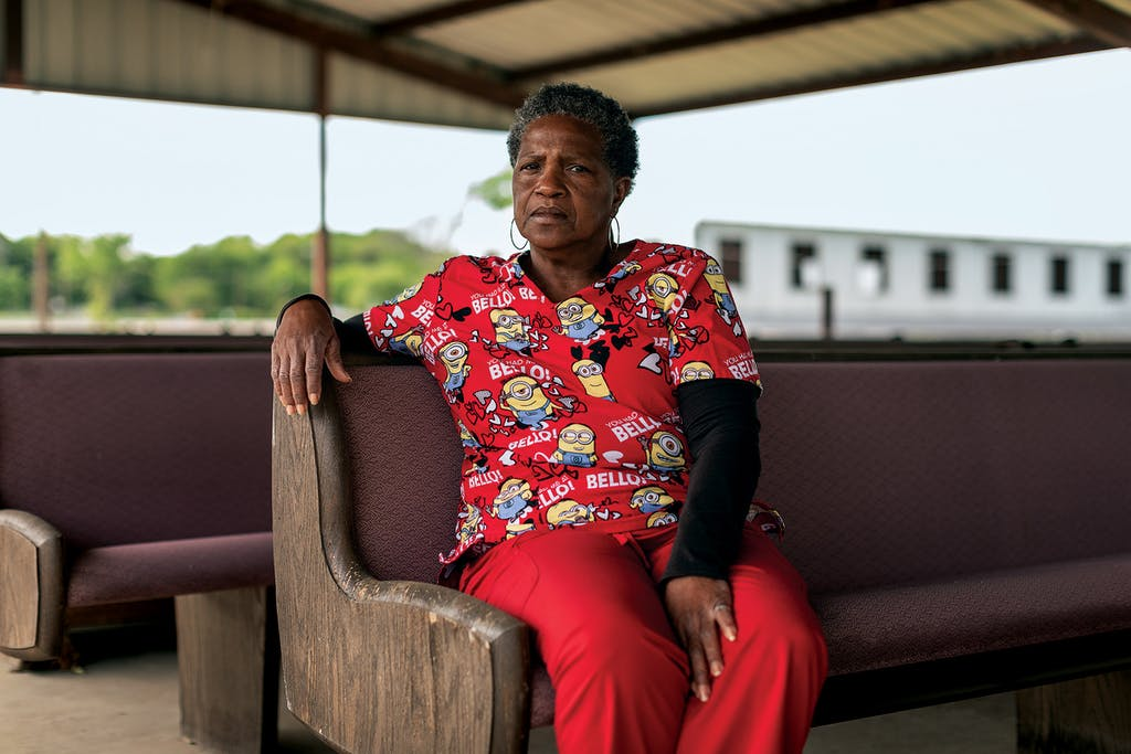 Pamela Baker sitting in the park tabernacle on April 21, 2021.