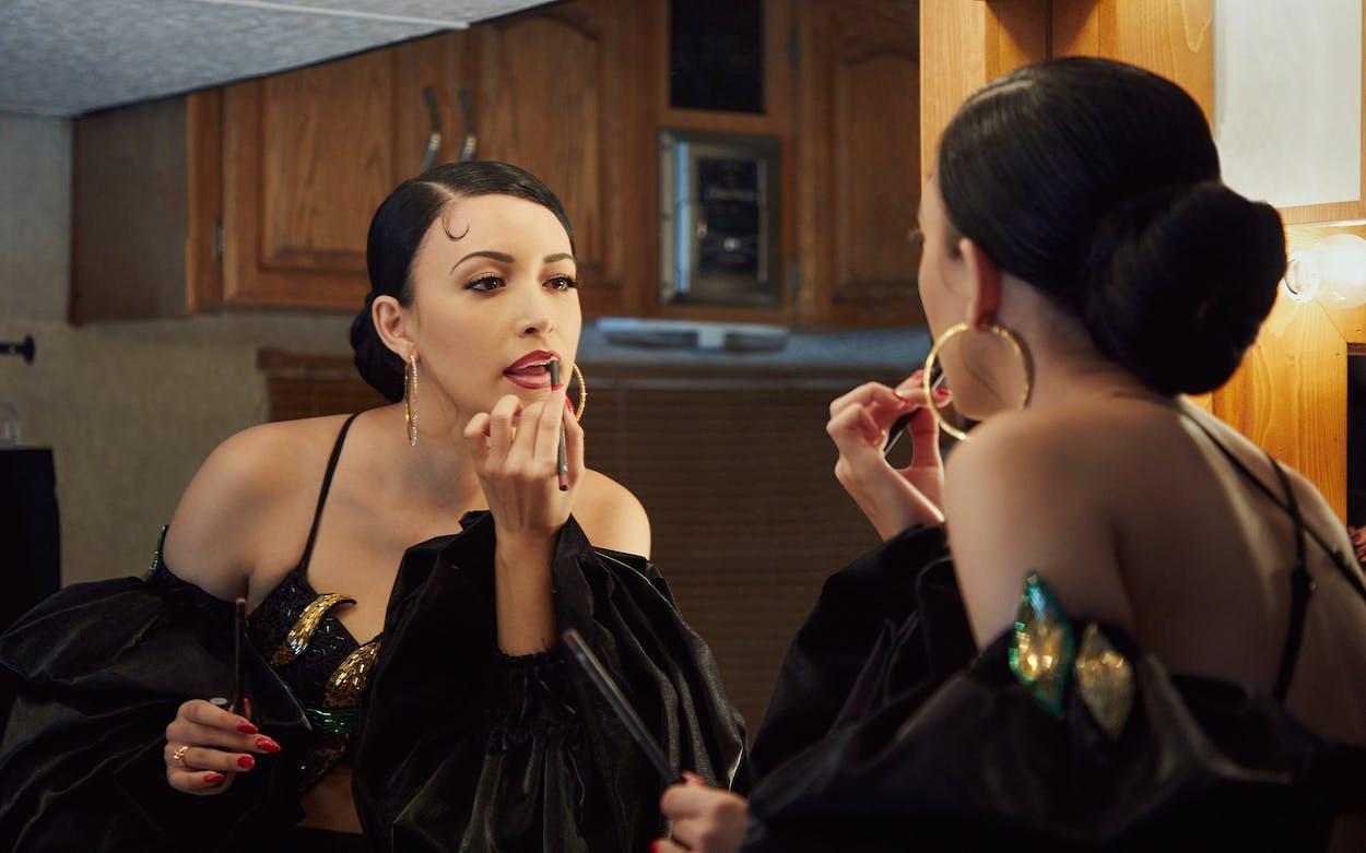 Christian Serratos as Selena Quintanilla in Netflix's Selena: The Series.