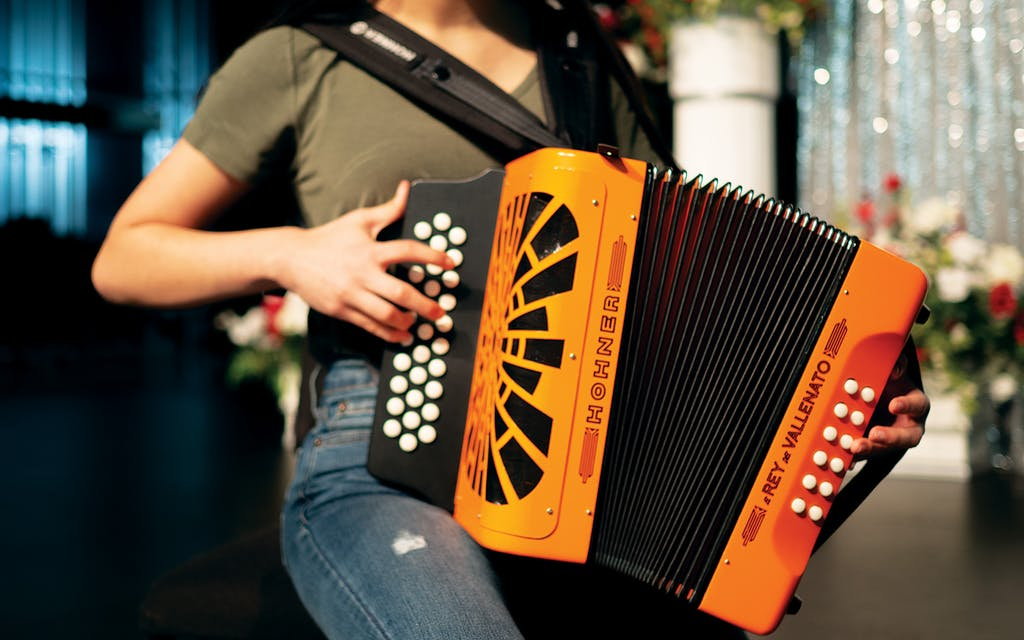 Ashly Nicole Molina practices accordion in the Roma High School Performing Arts Center in Roma on May 6, 2021.