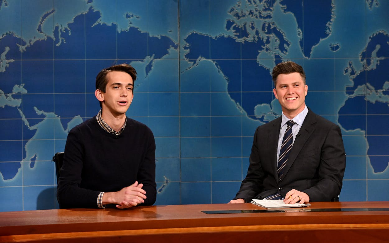 Andrew Dismukes and anchor Colin Jost during SNL's Weekend Update on May 15, 2021.