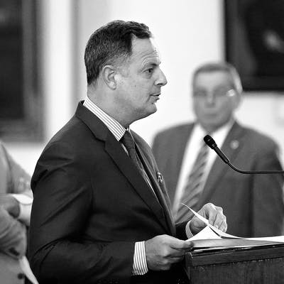 Rafael Anchia speaks against the election bill at the Texas Capitol on May 6, 2021.