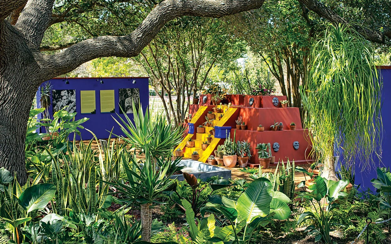 Replicas of the iconic blue walls of Casa Azul and Diego Rivera's pyramid used to display his collection of pre-Columbian artifacts at the San Antonio Botanical Garden.