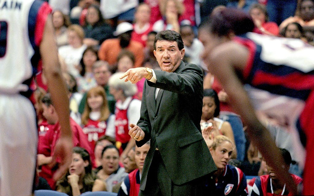Comets Head Coach Van Chancellor during a WNBA playoff game against the Los Angeles Sparks in Houston on August 17, 2000.