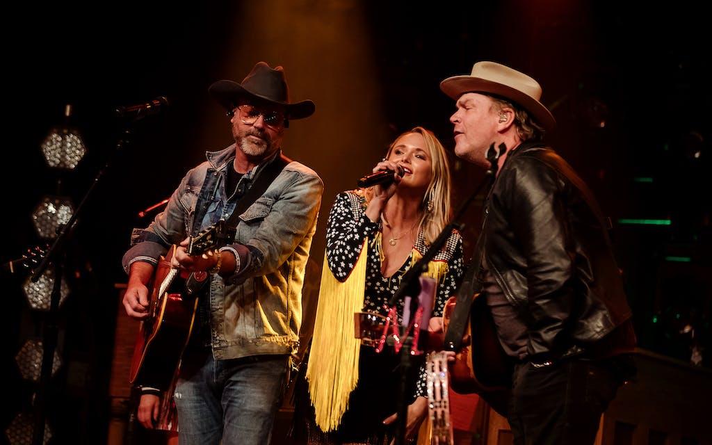 Jon Randall, Miranda Lambert, and Jack Ingram perform at Billy Bob's, in Fort Worth, on May 2, 2021.