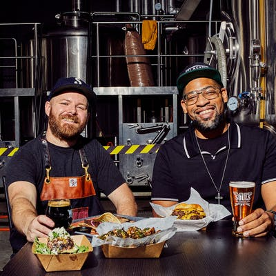 Andrew Samia, left, and Marcus Baskerville at Weathered Souls Brewing Company, in San Antonio, on April 18, 2021.