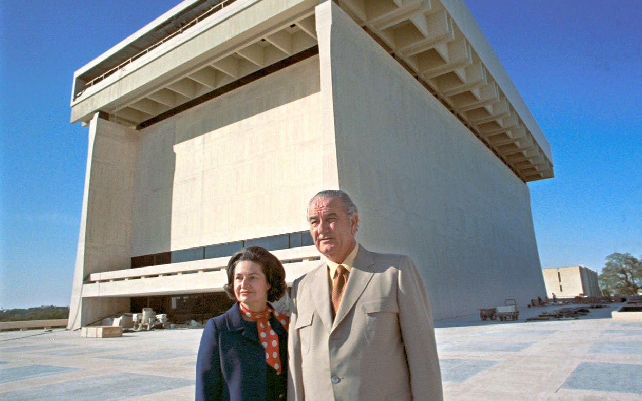 President Lyndon B. Johnson and Lady Bird Johnson at the LBJ Library in Austin on March 15, 1971.