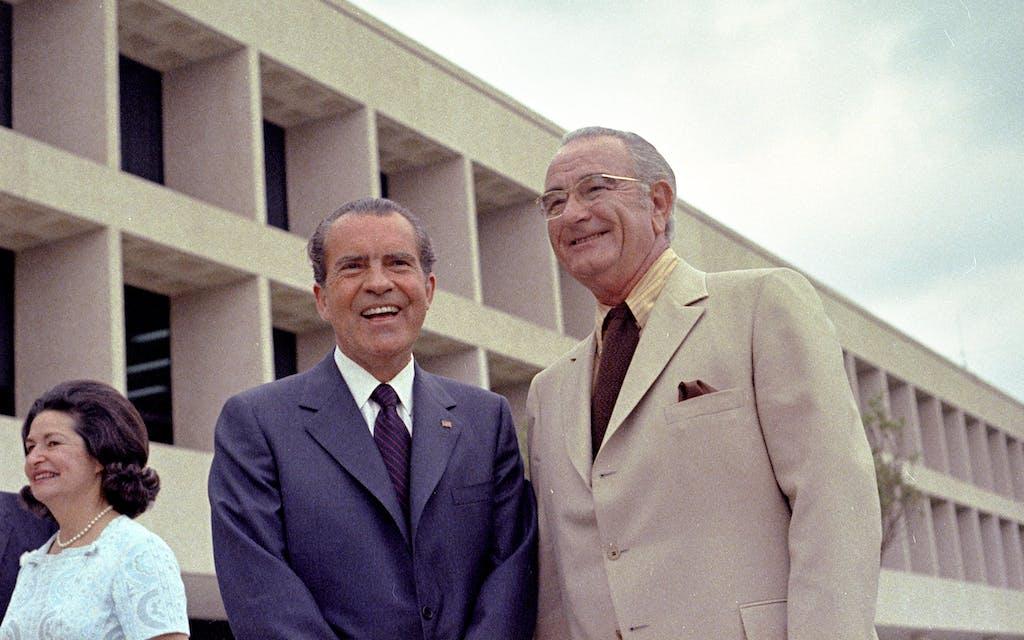 Lady Bird Johnson, President Richard Nixon, and Lyndon B. Johnson at the dedication of the library on May 22, 1971.