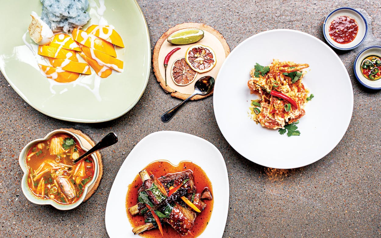 Khao niew mamuang, pu krob, three flavor ribs, and tom yum goong at Yi Peng in Houston.
